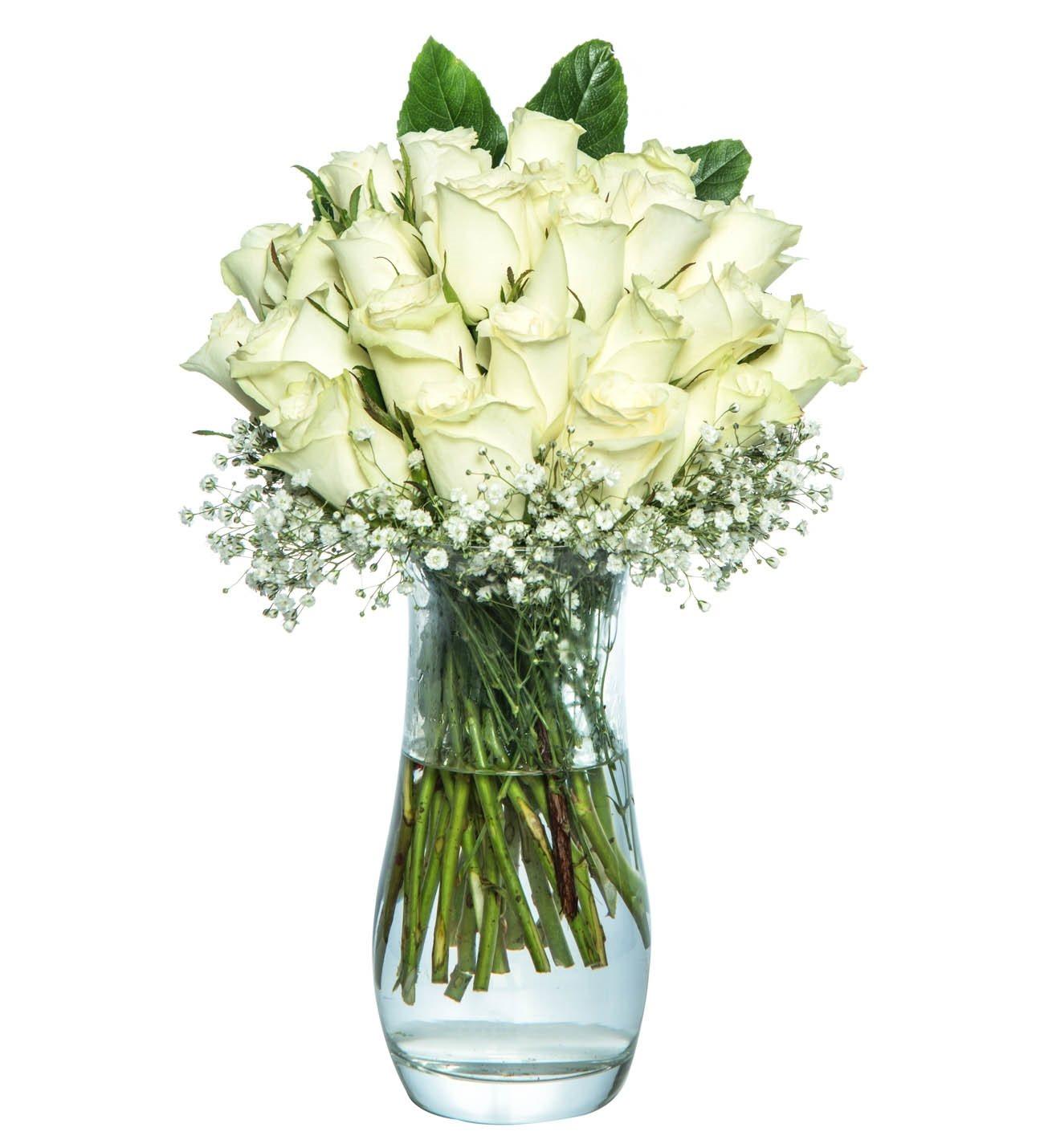 25 Beyaz Gül Cam Vazoda