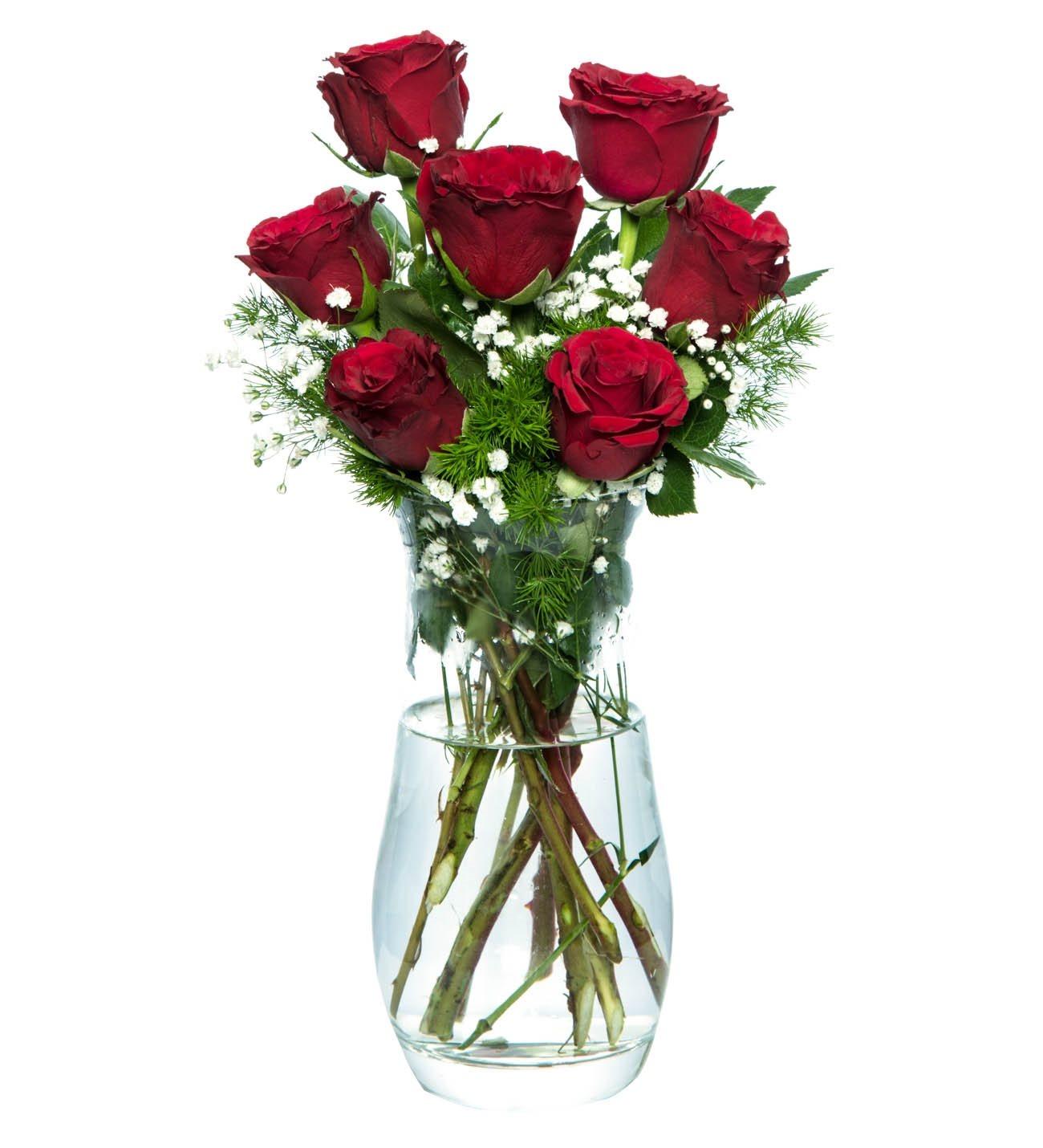 7 Kırmızı Gül Cam Vazoda (İthal Ürün)