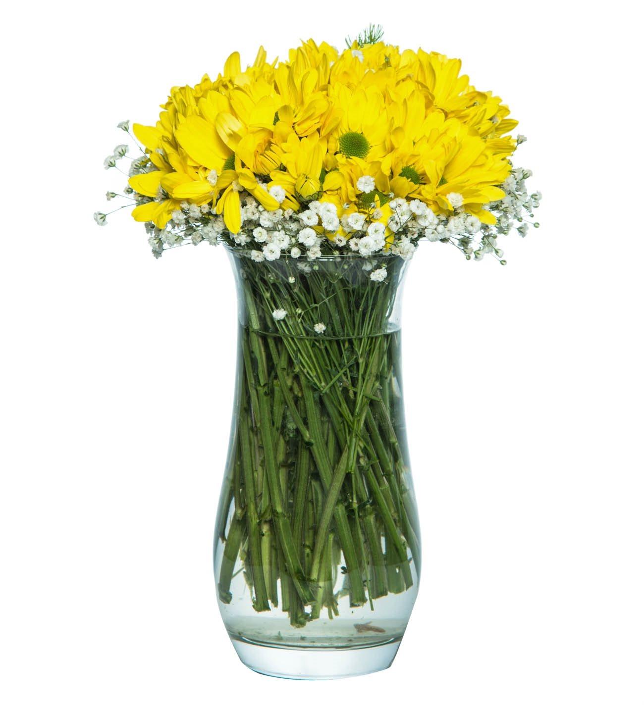 Sarı Biçmeler Cam Vazoda